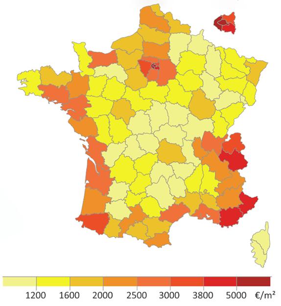 Bostadspriserna i Frankrike i juni 2018